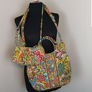 2 Pc Vera Bradley Tote and Small Crossbody Purse